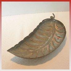 Vintage Leaf Shaped Copper Footed Bowl