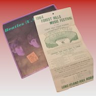 Beatles 1964 Forest Hills Concert Ticket Stub and Tour Booklet