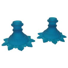 Pair of Vintage Westmoreland Frosted Blue Glass Candleholders