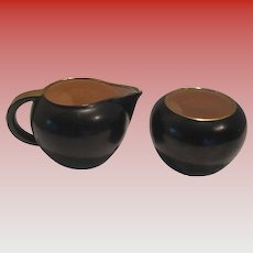 Vintage Black Ceramic Cream and Sugar
