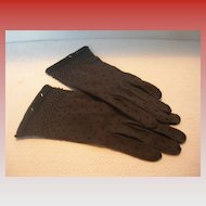 Vintage Black Beaded Cotton Wrist Gloves