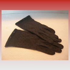 Vintage Black Beaded Cotton Wrist Gloves
