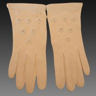 Vintage Hand Made Beaded Cotton Gloves