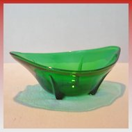Vintage Dark Green Footed Glass Bowl