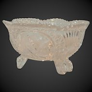 Vintage Pressed Glass Footed Bowl With Etched Birds
