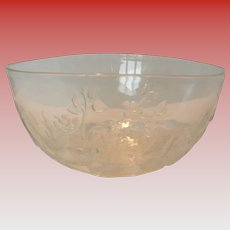 Vintage Molded Glass Salad Bowl with Dogwood Pattern