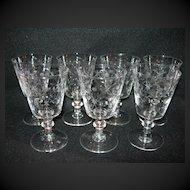 Set of 7 Vintage Cut Glass Goblets