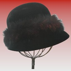 Vintage French Velvet Felt Women's Cloche With Faux Fur, by Mr. John