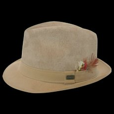 Vintage Dobbs Fifth Avenue Suede Short-Brimmed Fedora - Red Tag Sale Item