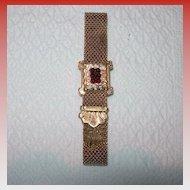 Rolled Gold and Garnet Bracelet