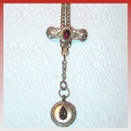 Victorian Watch Fob with Brass and Garnets
