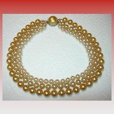 Triple Strand Imitation Pearl Baroque Necklace