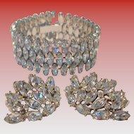 Exquisite Vintage Diamante Bracelet and Clip Earring Set