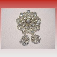 Vintage Diamante Brooch & Trifari Clip Earrings Set