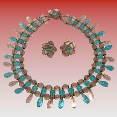 Vintage Italian Glass Bead Necklace & Earring Set