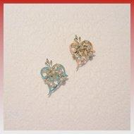 Vintage Enamel and Rhinestone Collar Pins