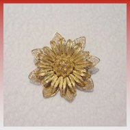 Art Nouveau Filagree Gold Tone Brooch