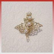 Vintage Gold Tone and Imitation Pearl Leaf Brooch