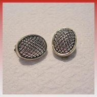 Vintage Silver Toned Clip Earrings
