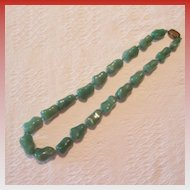 Vintage Jade Nephrite and Silver Necklace