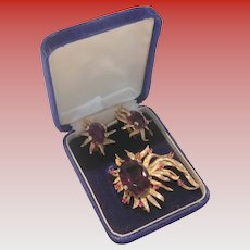 Incredible 14kt Gold Amethyst and Ruby Brooch and Earring Set