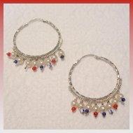 Vintage Silver Toned Hoop Earrings