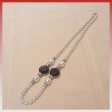 Large Faux Pearl Necklace with Silver Tone and Black Accents
