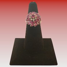 Vintage White 18 KT Gold Ruby and Diamond Princess Ring