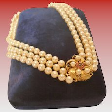 Triple Strand Pearl Necklace with Sapphire and Pearl Floral Clasp