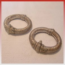 Two Handmade Alloy Hinged Bracelets