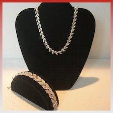 Old Mine Cut Crystal Necklace and Bracelet Set