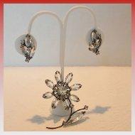 Vintage Japanned Flower Brooch and Earring Set