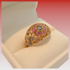 14kt Yellow Gold, Ruby and Sapphire Ring