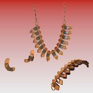 Vintage Copper Parure, Necklace, Bracelet & Earrings