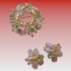 West German Brooch and Clip Earring Set