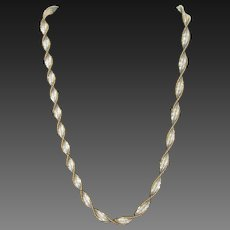 Vintage Italian Twisted Silver Vermeil Necklace