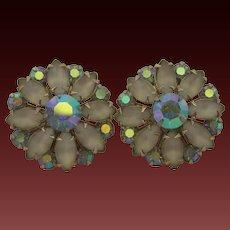 Vintage CORO Aurora Borealis and Faux Moonstone Clip Earrings