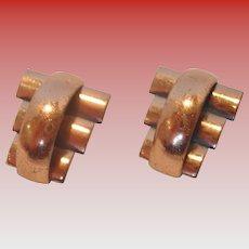 Vintage Renior Copper Clip-on Earrings