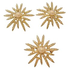 Vintage Emmons Brooch and Clip Earring Set