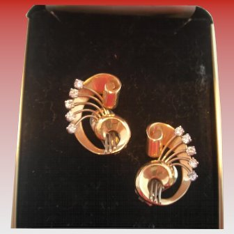 Vintage Gold and Diamond Clip-On Earrings
