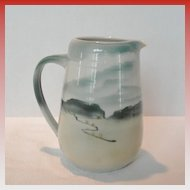 Vintage Ceramic Pitcher with Glazed Landscape Scene