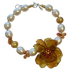 Artisan Collage Necklace with  Vintage Lucite Amber Color Flower