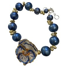 Artisan Collage Necklace with  Reworked Pansy Brooch - Blue Cotton Pearls and Swarovski Crystals One of a Kind
