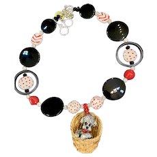 "Original Artisan "" Dog in a Basket"" Necklace - Fantastic Vintage Pendant by Razza"