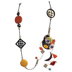 # 1  Picasso Inspired Original Necklace - Sensational Off Center Face - Colorful Colorful Colorful - A Statement Piece