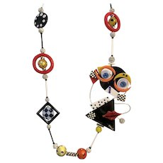 #2  Picasso Inspired Original Necklace - Sensational Off Center Face - Colorful Colorful Colorful - A Statement Piece