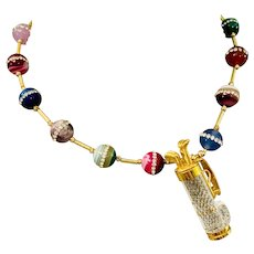 One of a Kind Artisan Golfer Necklace with Swarovski Crystal Signed Golf Bag and Clubs - Colorful Agate Beads with Crystal Inlay