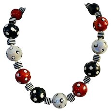 """Artisan Hand Painted """"Miracle Bead"""" Necklace in Black White and Red - Beads that Glow - Unique and Stunning"""