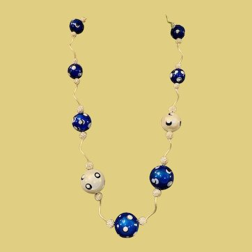 """Long Artisan Hand Painted """"Miracle Bead"""" Necklace in Blue and White - Beads that Glow - Unique and Stunning 30 to  33  inches long"""
