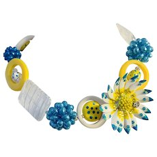 Artisan Collage Necklace with Flower Focal in Blue and Yellow -One of a Kind